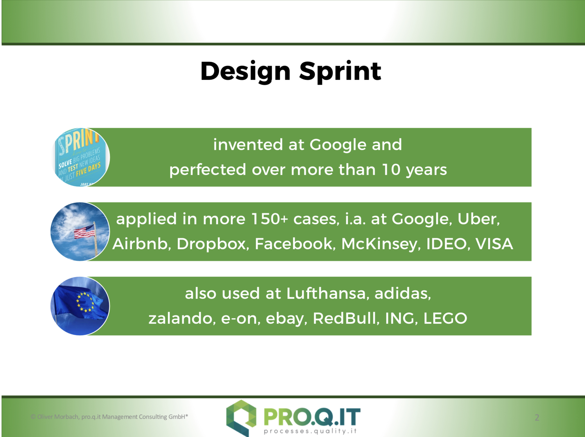 Design Sprints for Your Innovations. pro.q.it